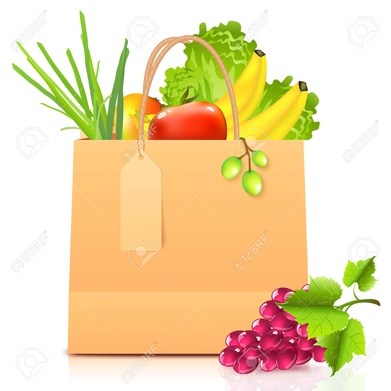 isolated paper bag with vegetables Stock Vector - 17540571