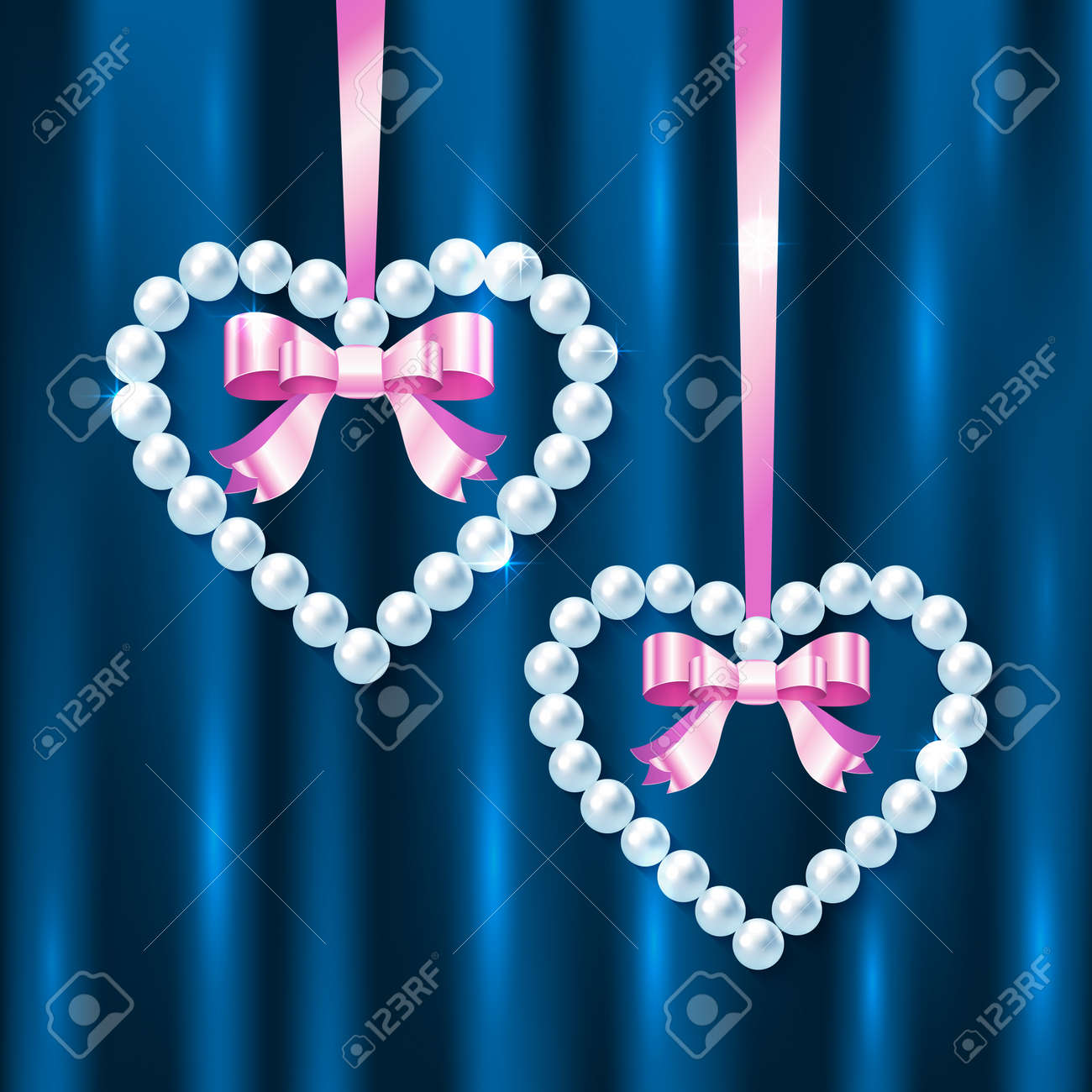 Pearl hearts with pink ribbons and bows on dark blue silk Stock Vector - 17540547