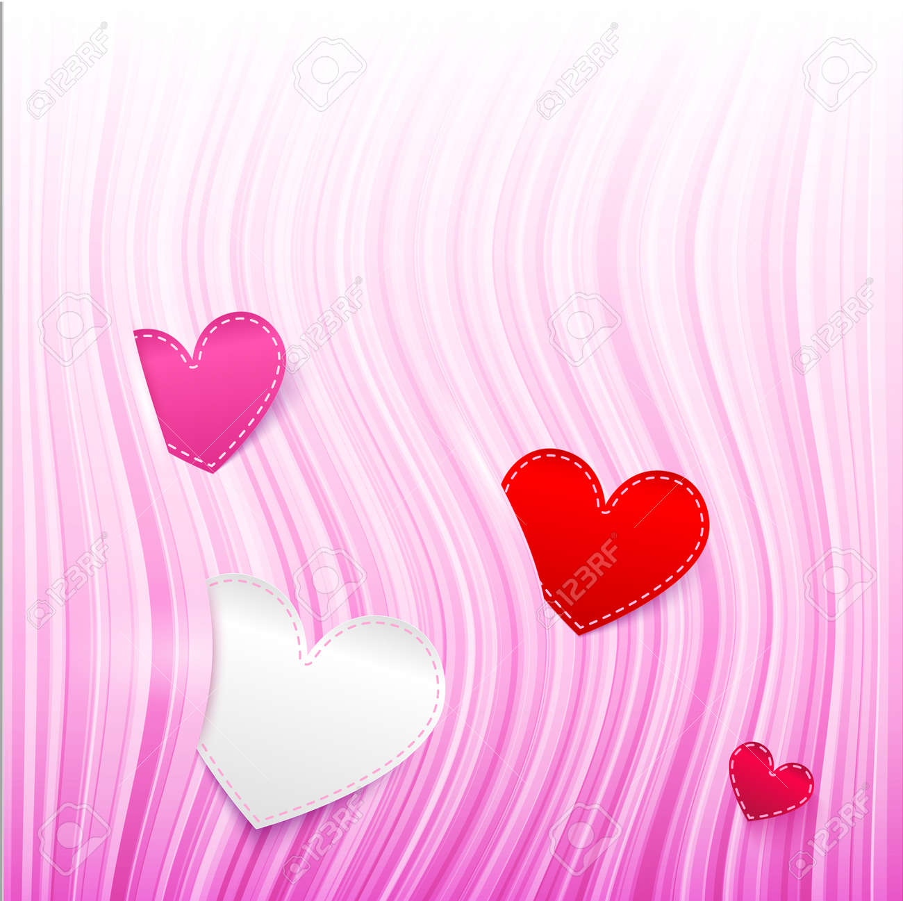 pink wavy Valentine s Day background with hearts Stock Vector - 17769496