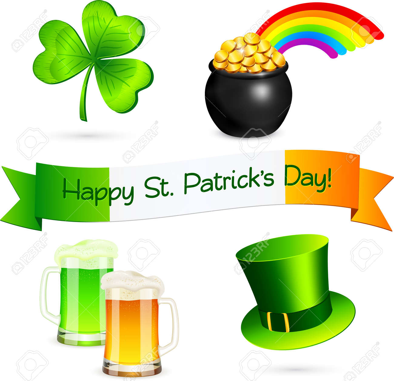 Saint Patrick s Day design elements set Stock Vector - 18054522