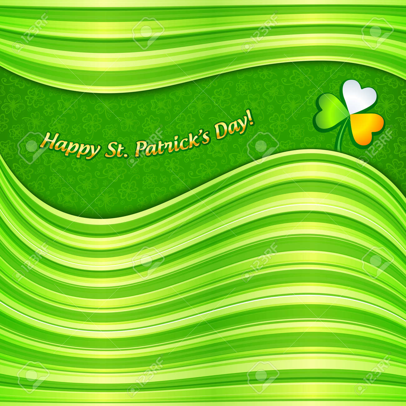 Green Patrick s Day abstract background greeting card Stock Vector - 18054518