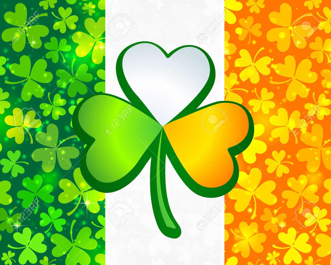 Irish flag from green and orange clovers Stock Photo - 18209282