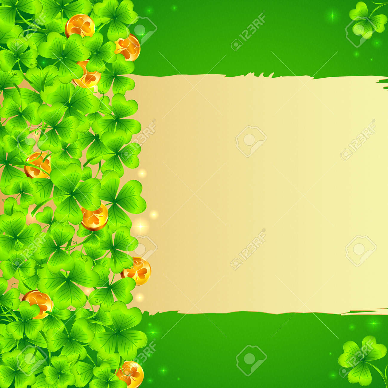 Green clovers background with golden coins and sheet of old paper with text. Vector background for Saint Patrick's Day. Stock Vector - 18410466