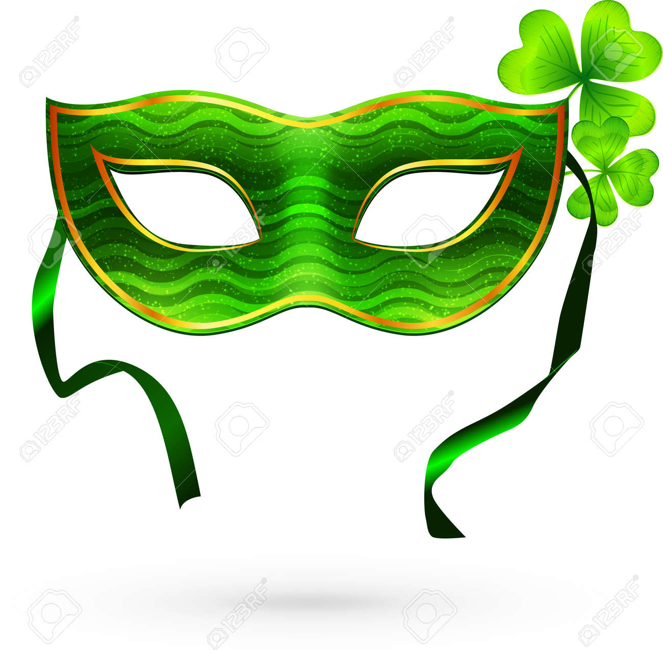 Green carnival mask with clovers Stock Vector - 18445465