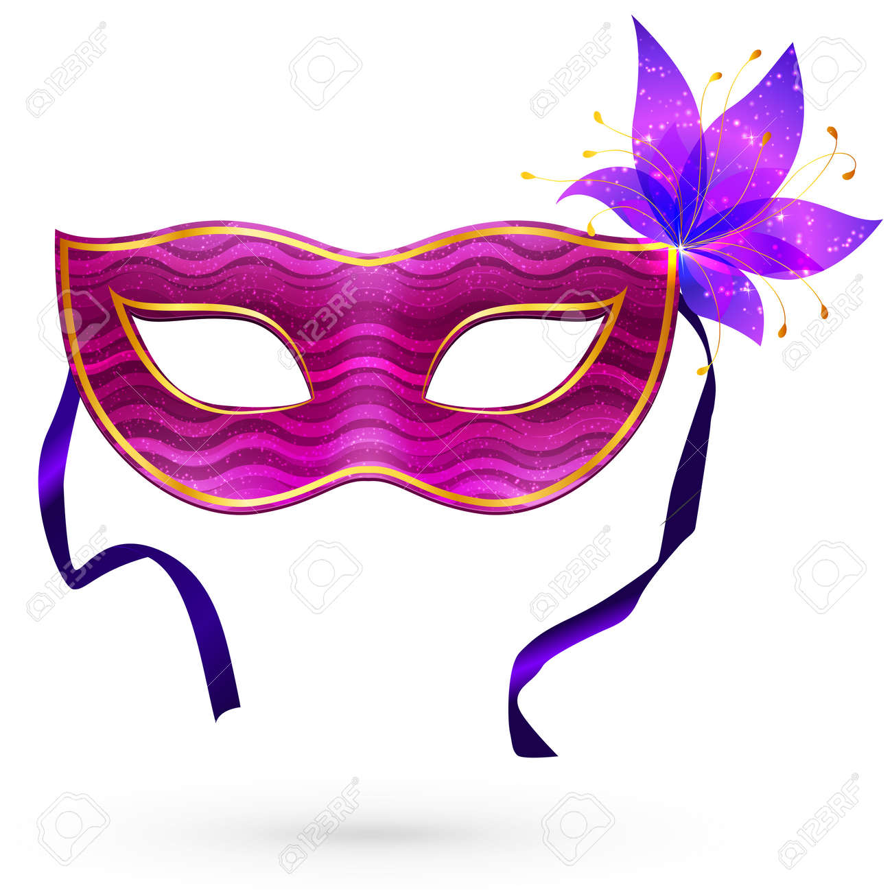 Violet  carnival mask with flower Stock Vector - 18524373
