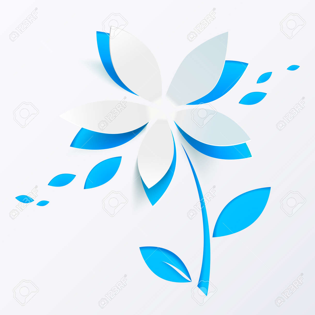 Blue paper flower vector greeting card template Stock Photo - 18776323