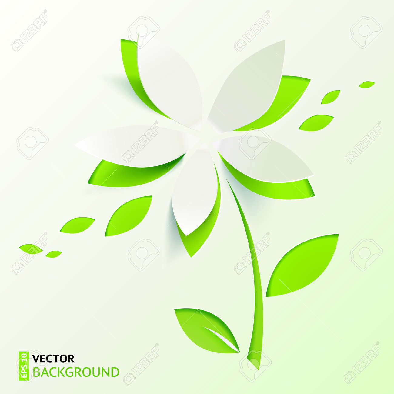 Green paper cutout flower Stock Vector - 19121751