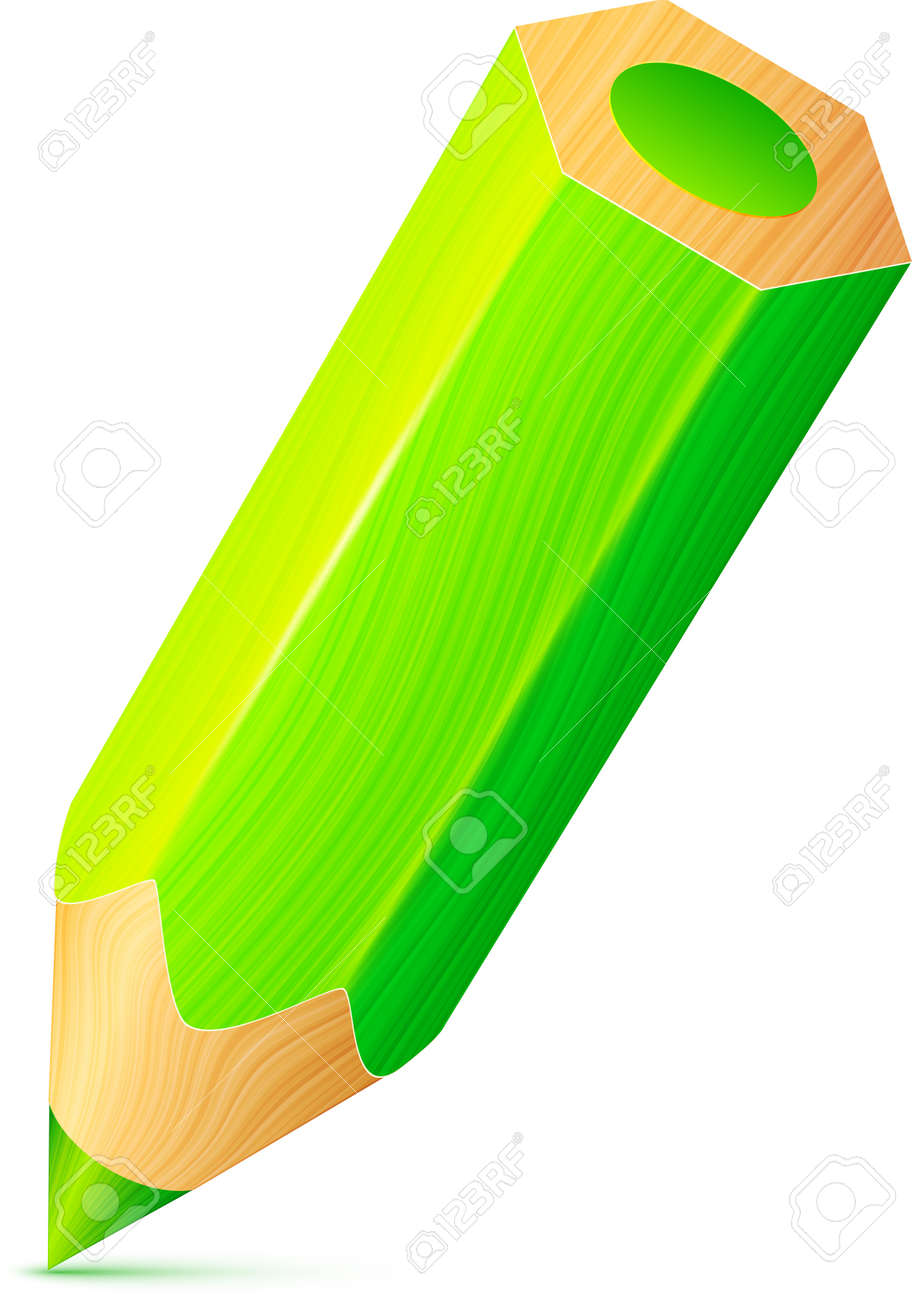Vector cute green wooden little pencil Stock Vector - 19355934