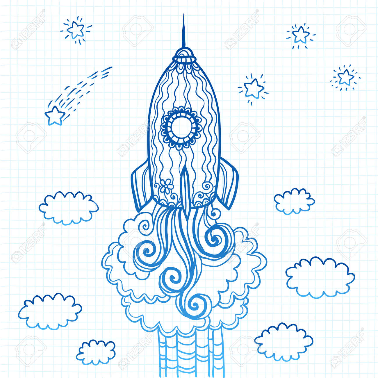 Vector ornate doodles rocket starting to space Stock Vector - 19355913