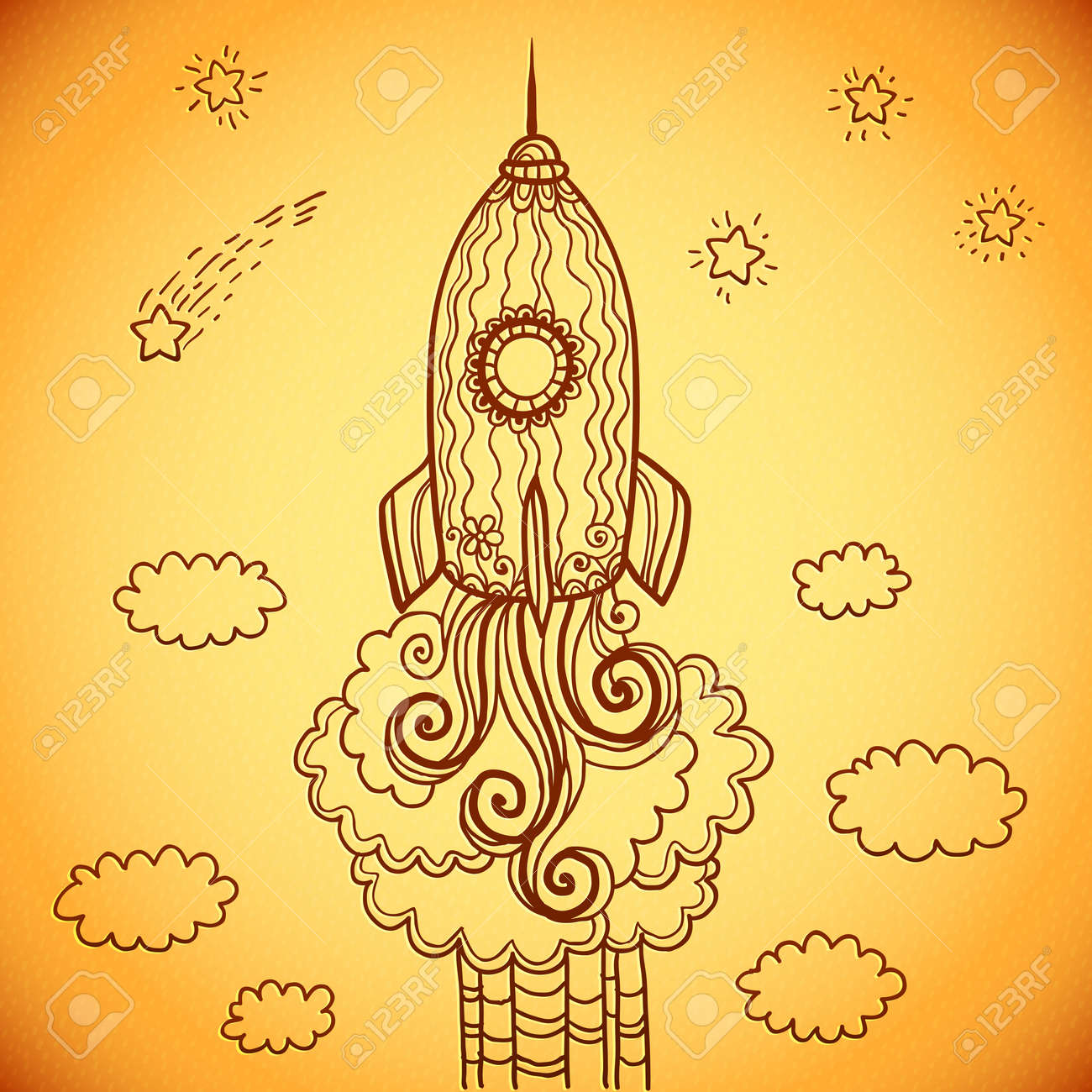 Vector ornate doodles rocket starting to space Stock Photo - 19355915