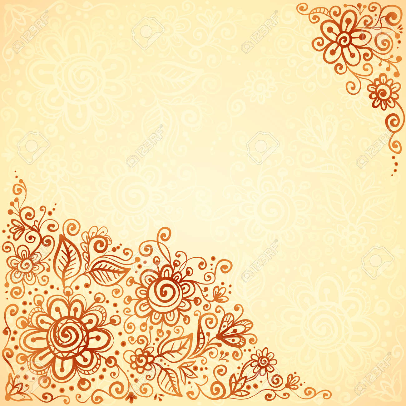 Henna Colors Flourish Artistic Background Royalty Free Cliparts