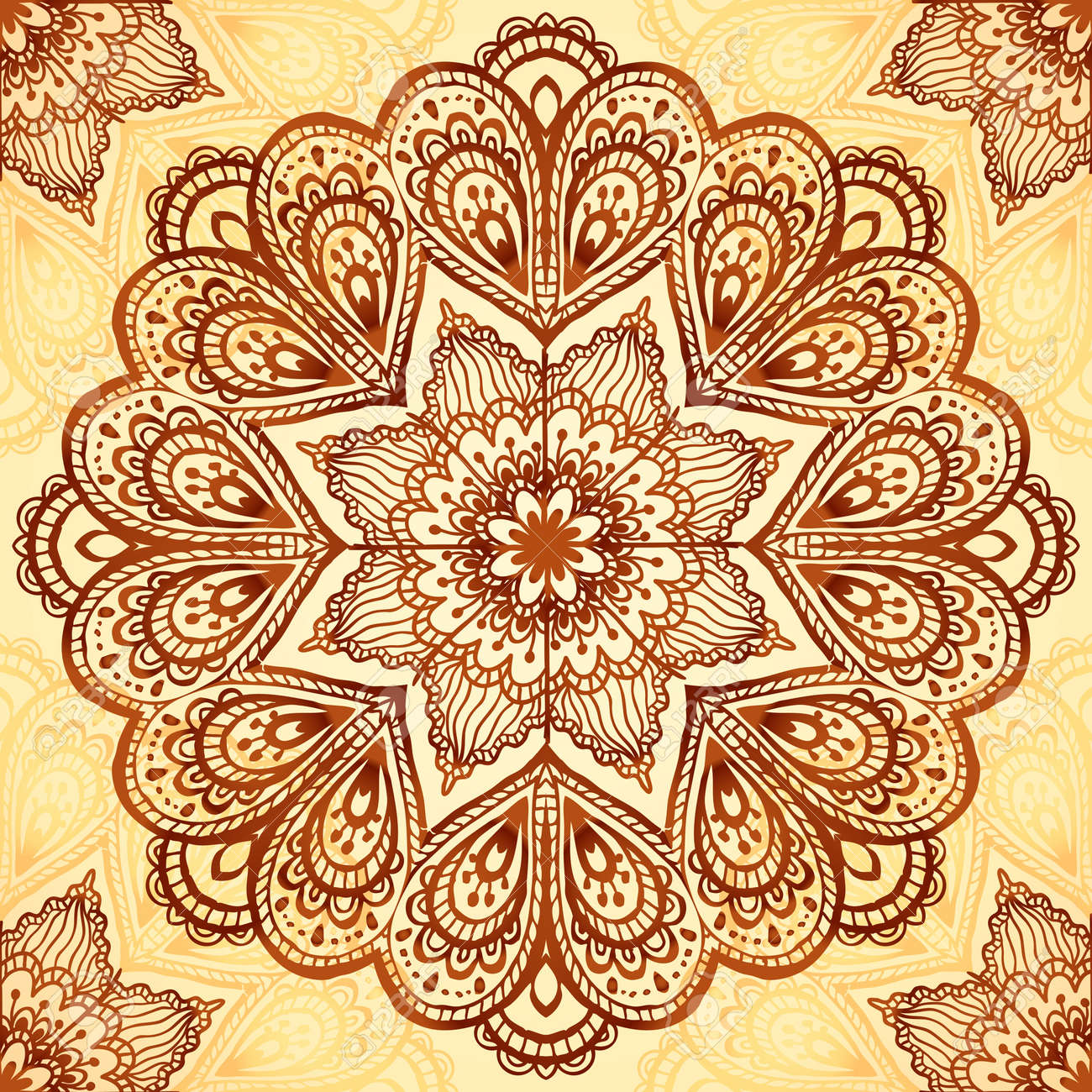 Ornate vintage vector background in mehndi style royalty free stock - Ornate Vintage Vector Napkin Background Stock Vector 20141824