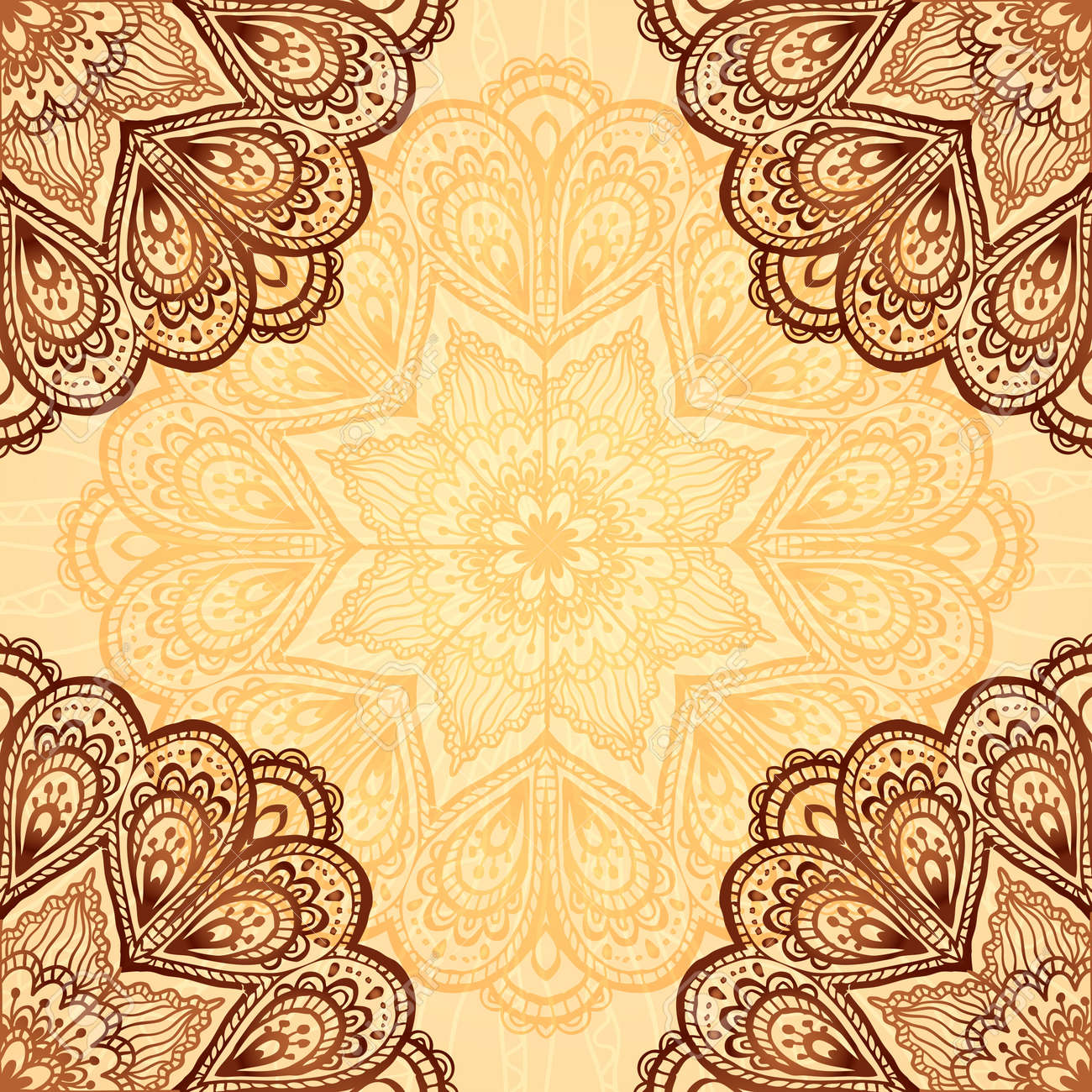 Ornate Napkin Vector Background In Henna Colors Royalty Free