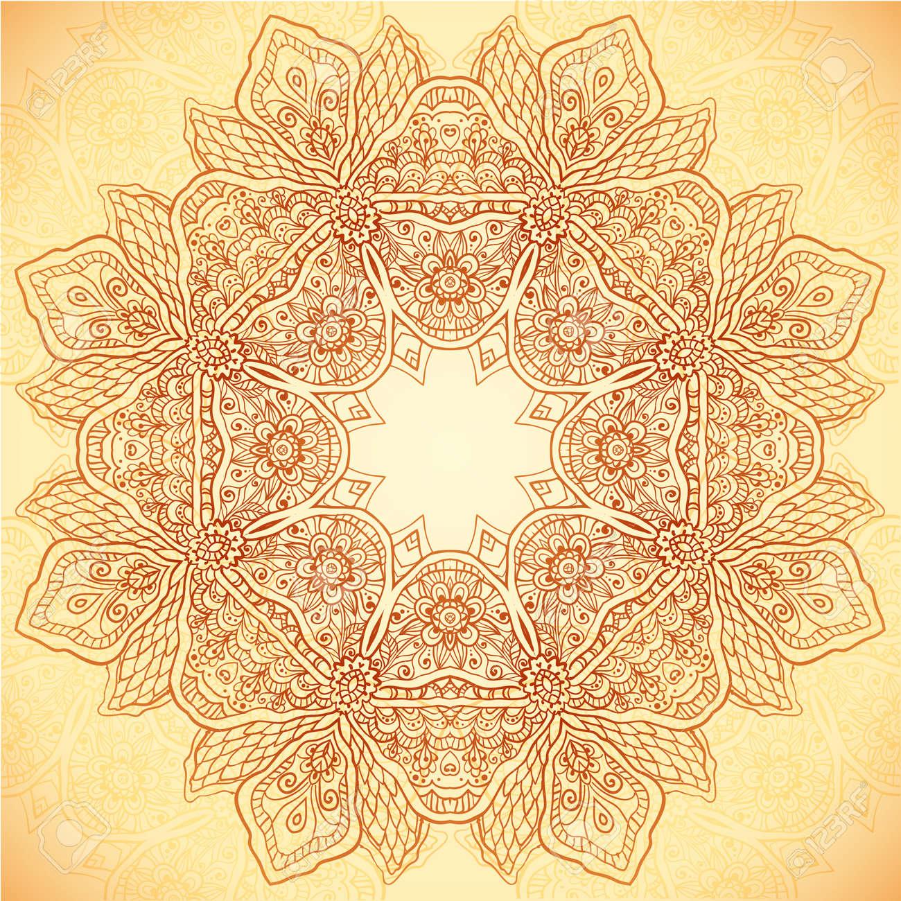 Ornate vintage vector background in mehndi style royalty free stock - Ornate Vintage Vector Flower Napkin Background In Mehndi Indian Style Stock Vector 20722545