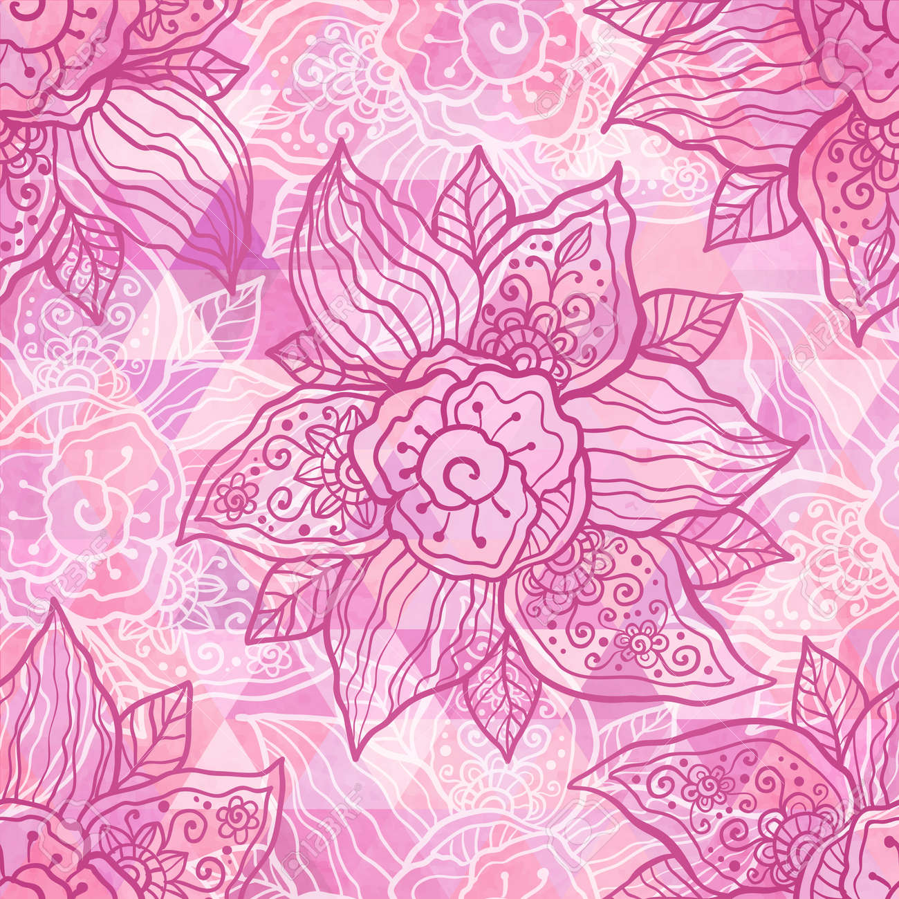 Vintage ornate vector flowers on grunge triangles background Stock Vector - 20722610