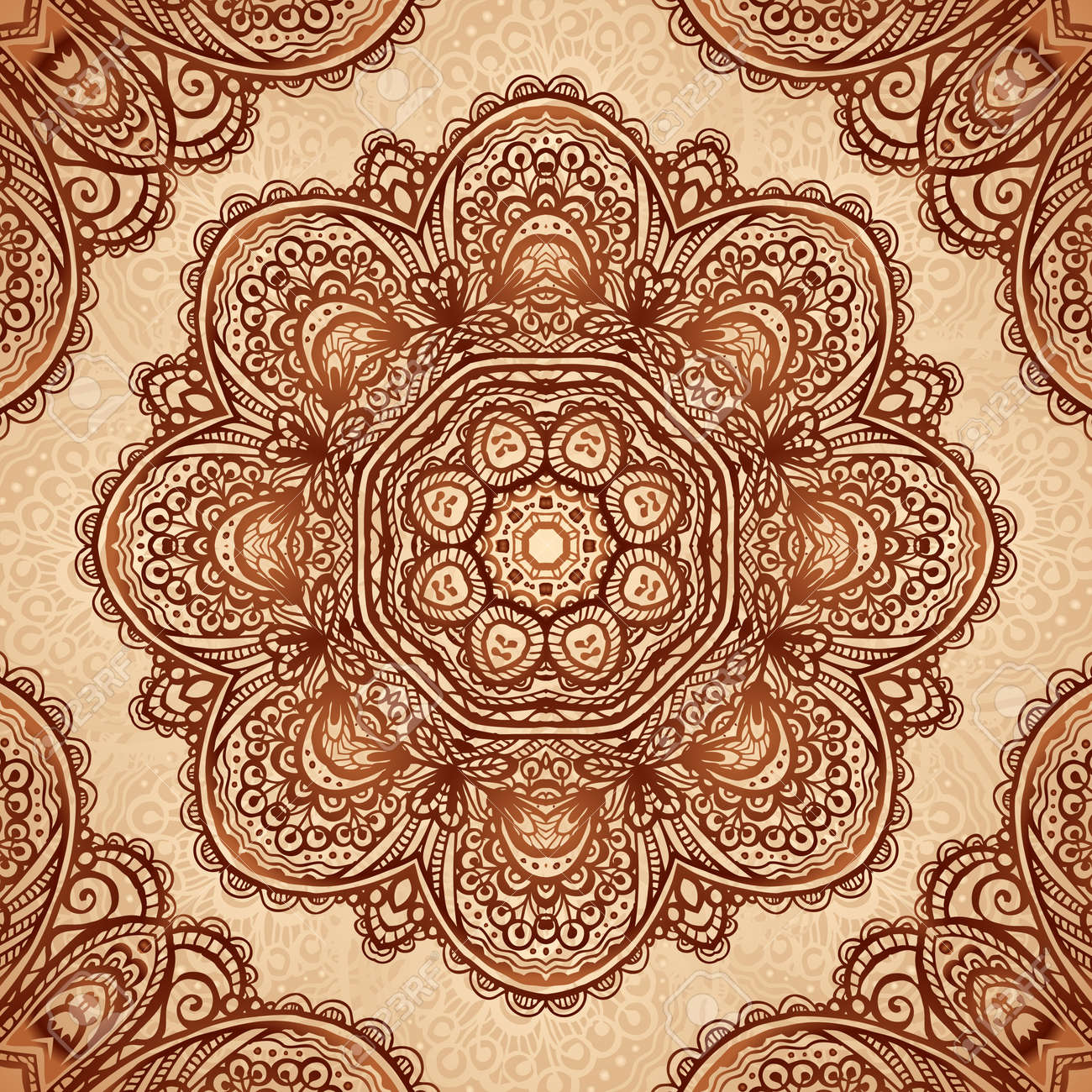 Ornate vintage vector background in mehndi style royalty free stock - Ornate Vintage Napkin Background In Indian Mehndi Style Stock Vector 20723095