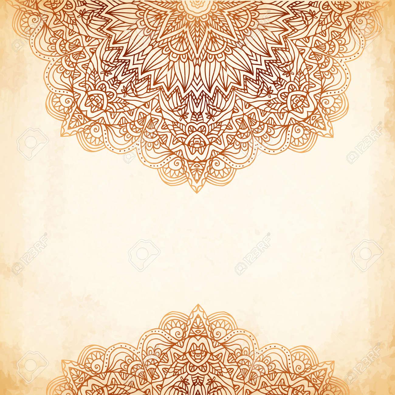 Ornate vintage vector background in mehndi style royalty free stock - Ornate Vintage Beige Vector Background In Mehndi Style Stock Vector 20914540
