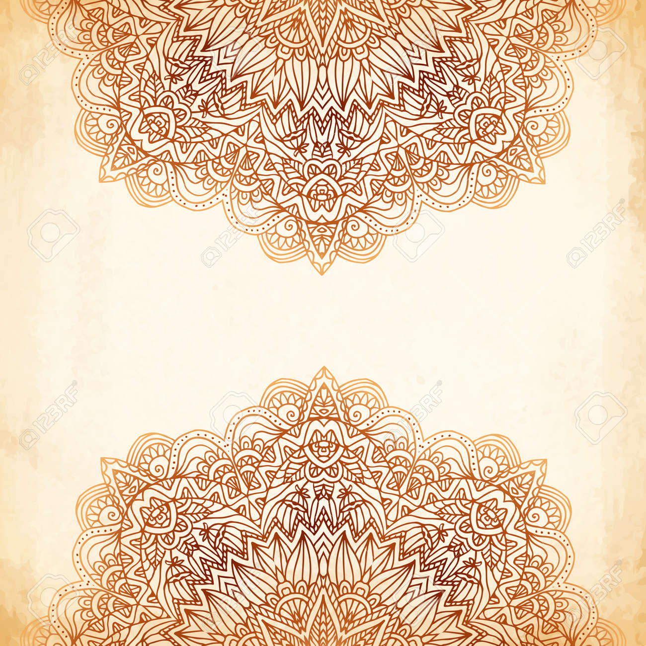 Ornate vintage vector background in mehndi style royalty free stock - Ornate Vintage Beige Vector Background In Mehndi Style Stock Vector 20914523
