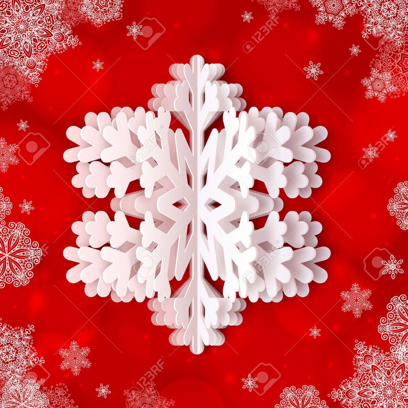 white paper vector snowflake on red ornate background royalty free