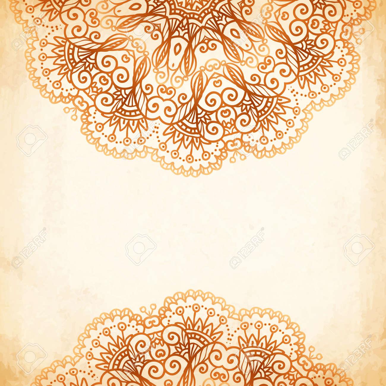 Ornate vintage vector background in mehndi style royalty free stock - Ornate Vintage Circle Vector Seamless Pattern In Mehndi Style Stock Vector 25742039