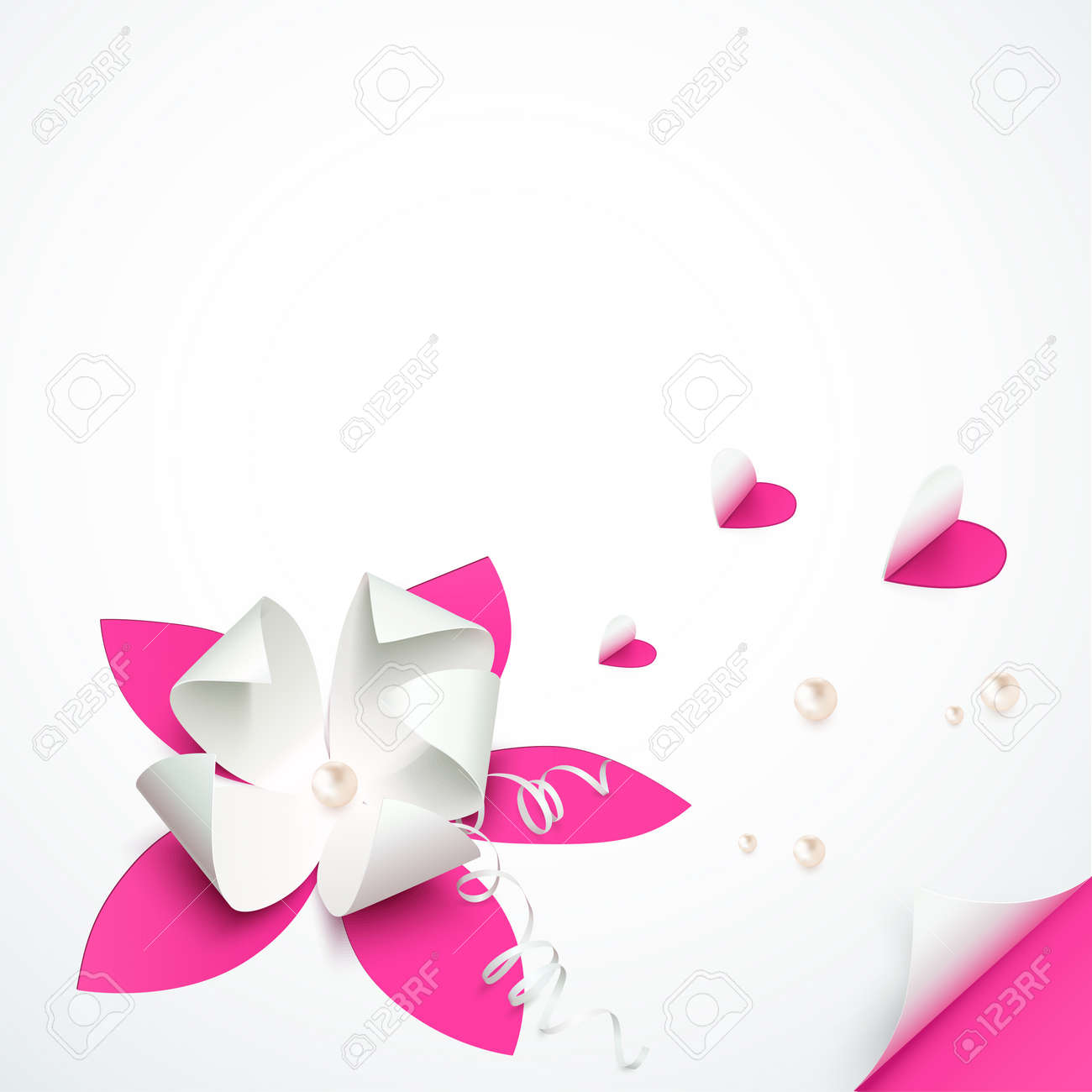 Pink Cutout Paper Flowers Vector Greeting Card Template Royalty Free