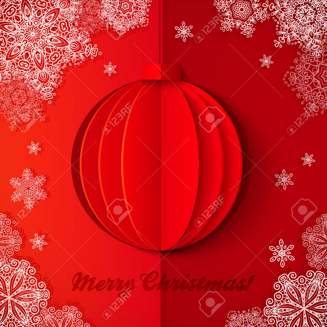 Red origami paper vector realistic Christmas ball Stock Vector - 25744781