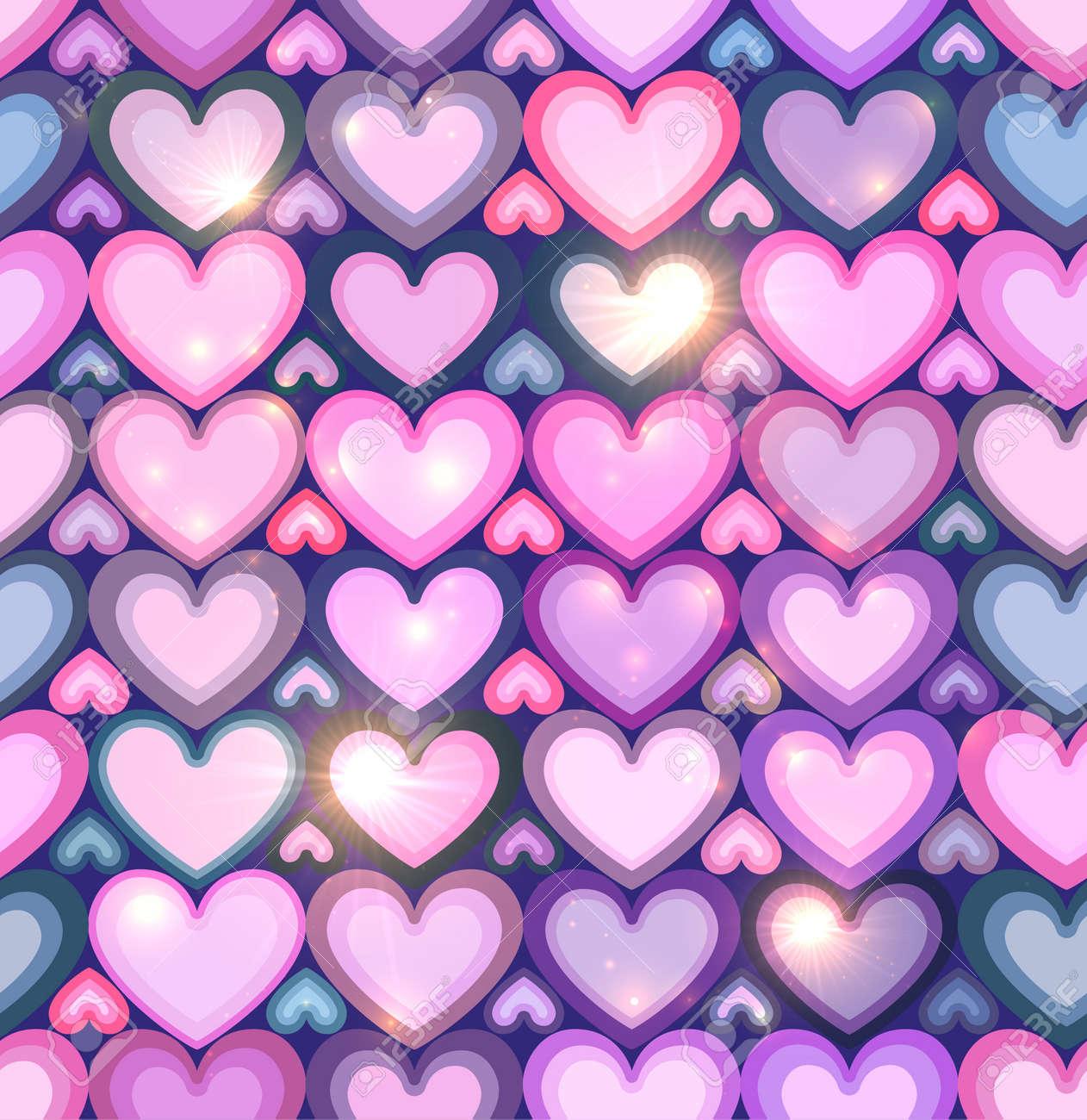 corazones rosas claros brillantes vector sin patrn foto de archivo 25745827
