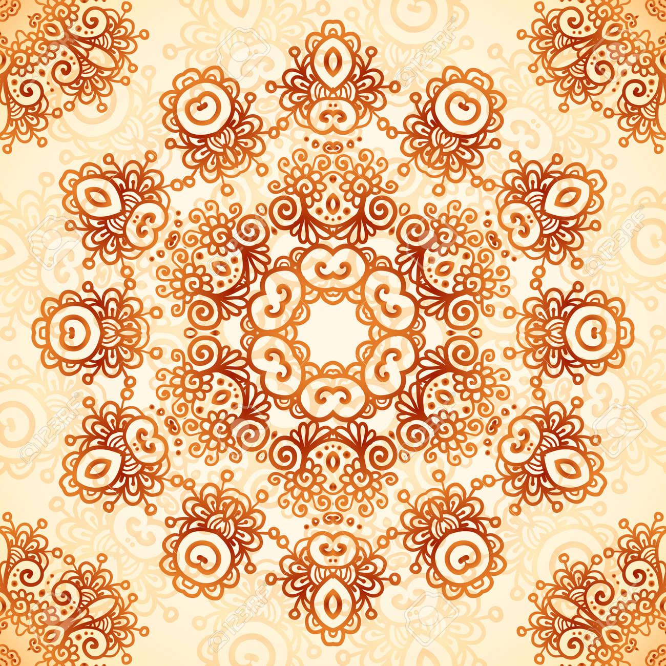 Ornate vintage vector background in mehndi style royalty free stock - Ornate Vintage Circle Vector Seamless Pattern In Mehndi Style Stock Vector 25747795
