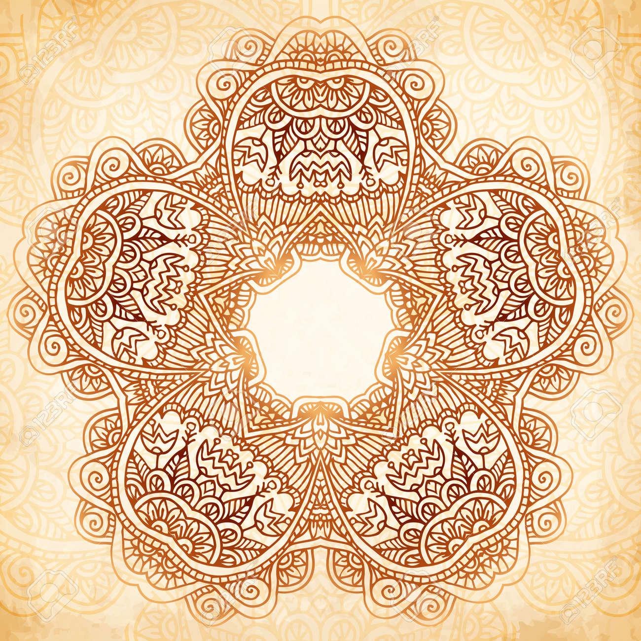 Ornate vintage vector background in mehndi style royalty free stock - Ornate Vintage Beige Vector Background In Mehndi Style Stock Vector 25747805