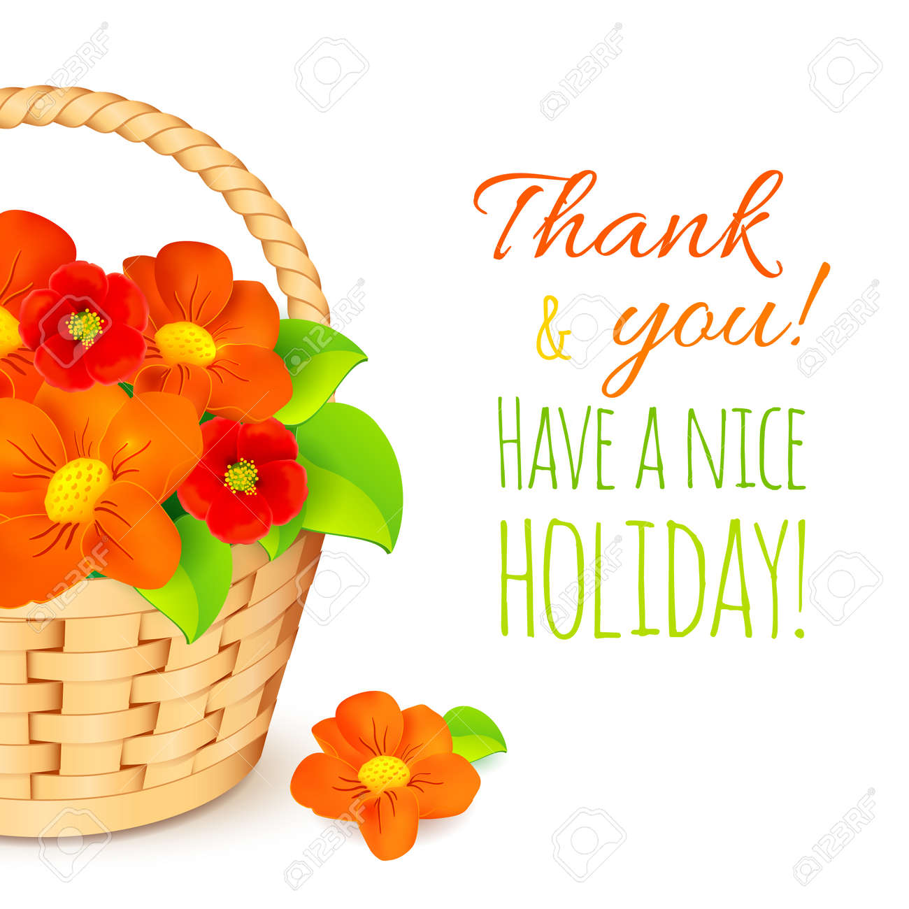 Basket with red flowers and have a nice holiday sign vector basket with red flowers and kristyandbryce Gallery