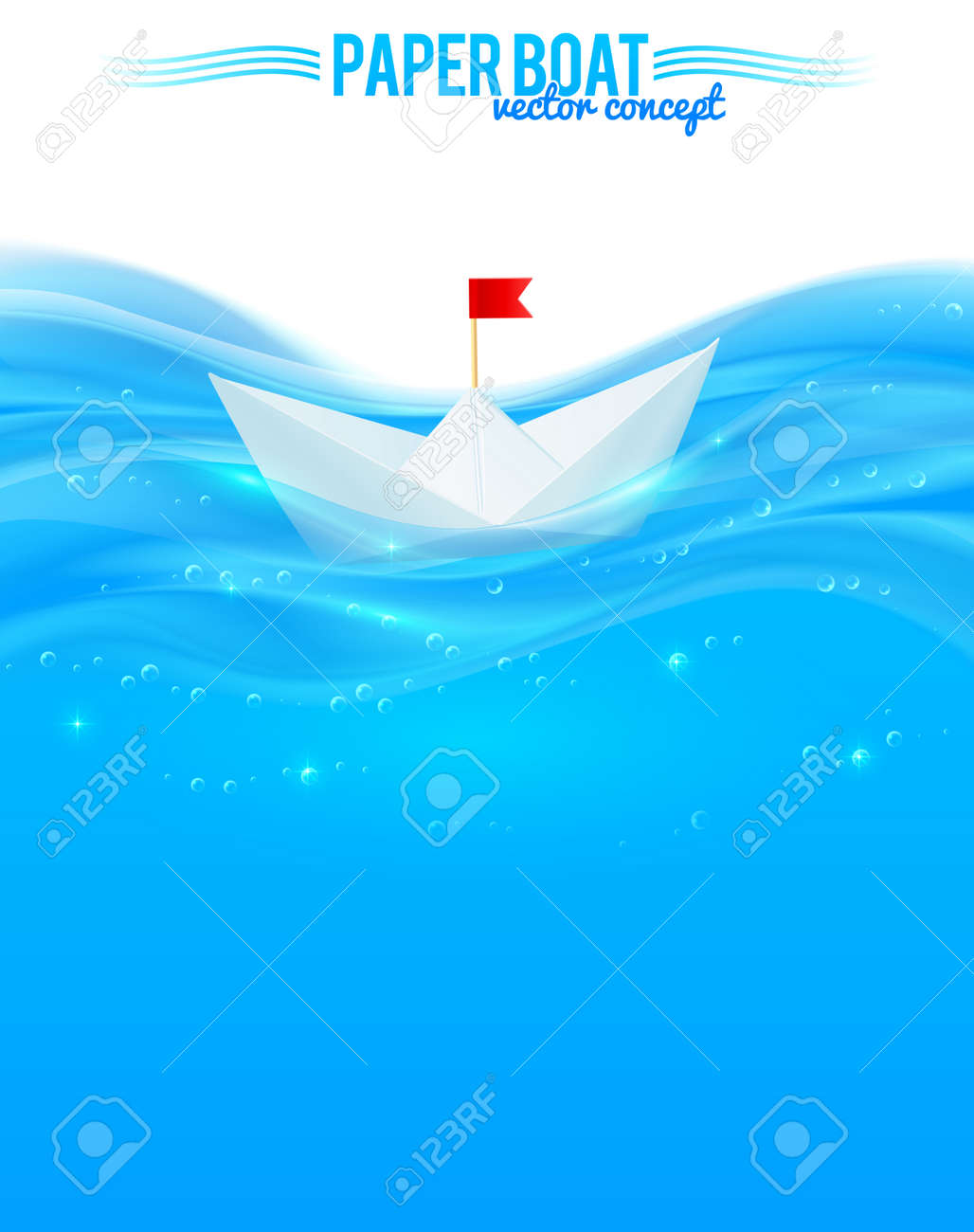 Abstract Vector Realistic Water With Paper Boat Design Template For Your Leaflet Stock Photo