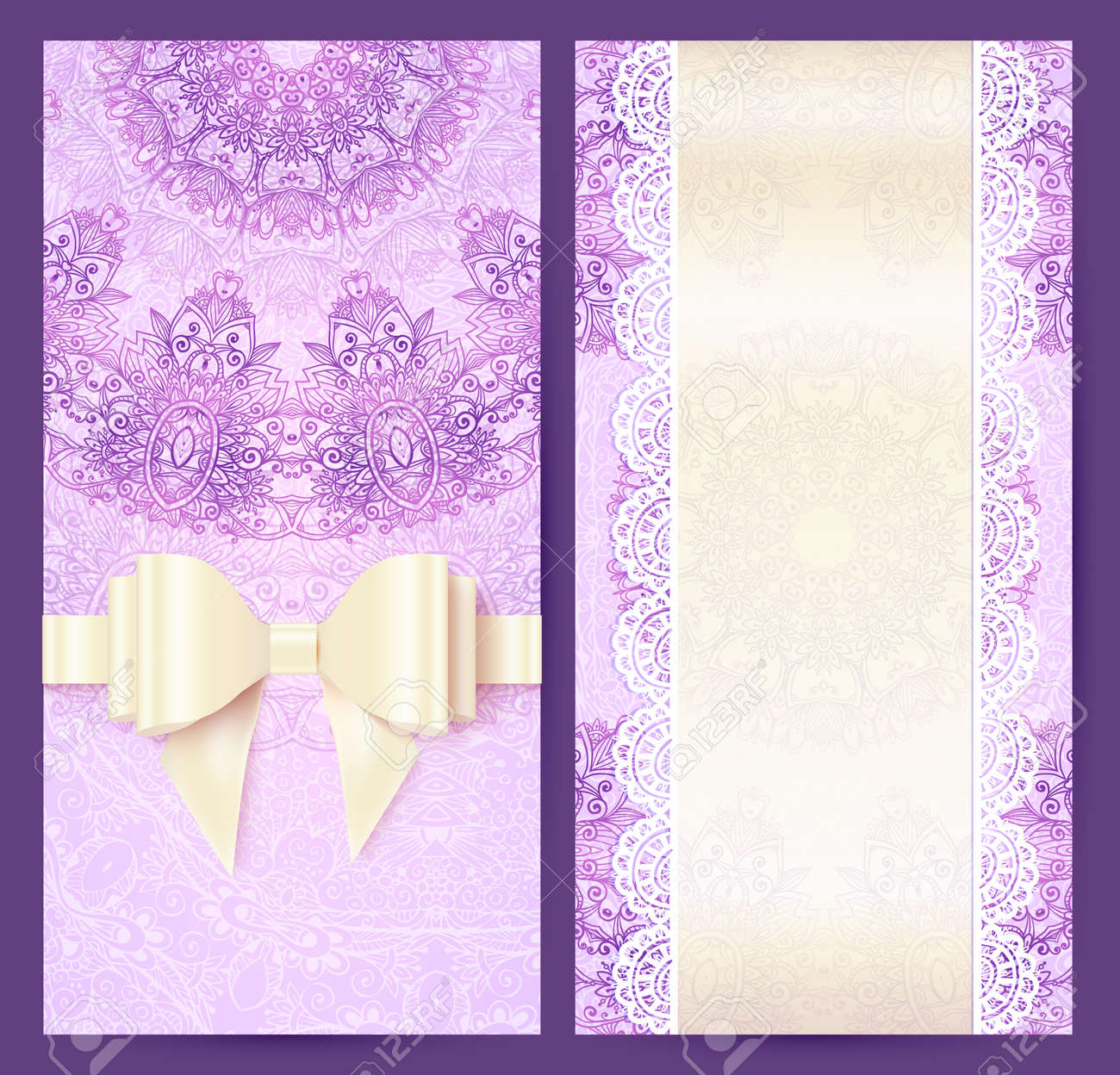 Purple Vintage Lacy Wedding Invitation Template Royalty Free ...