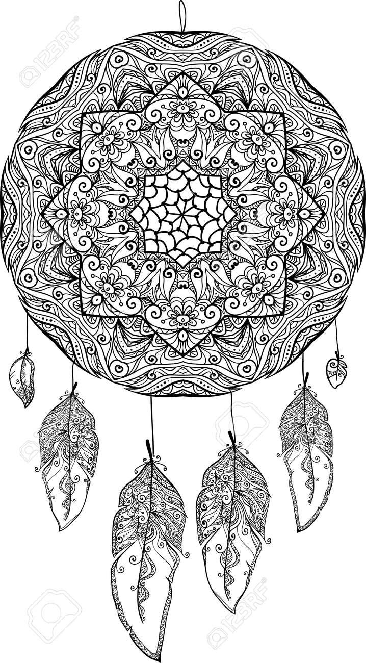 Blanco Y Negro Garabato Atrapasueños Ilustraciones Vectoriales Clip