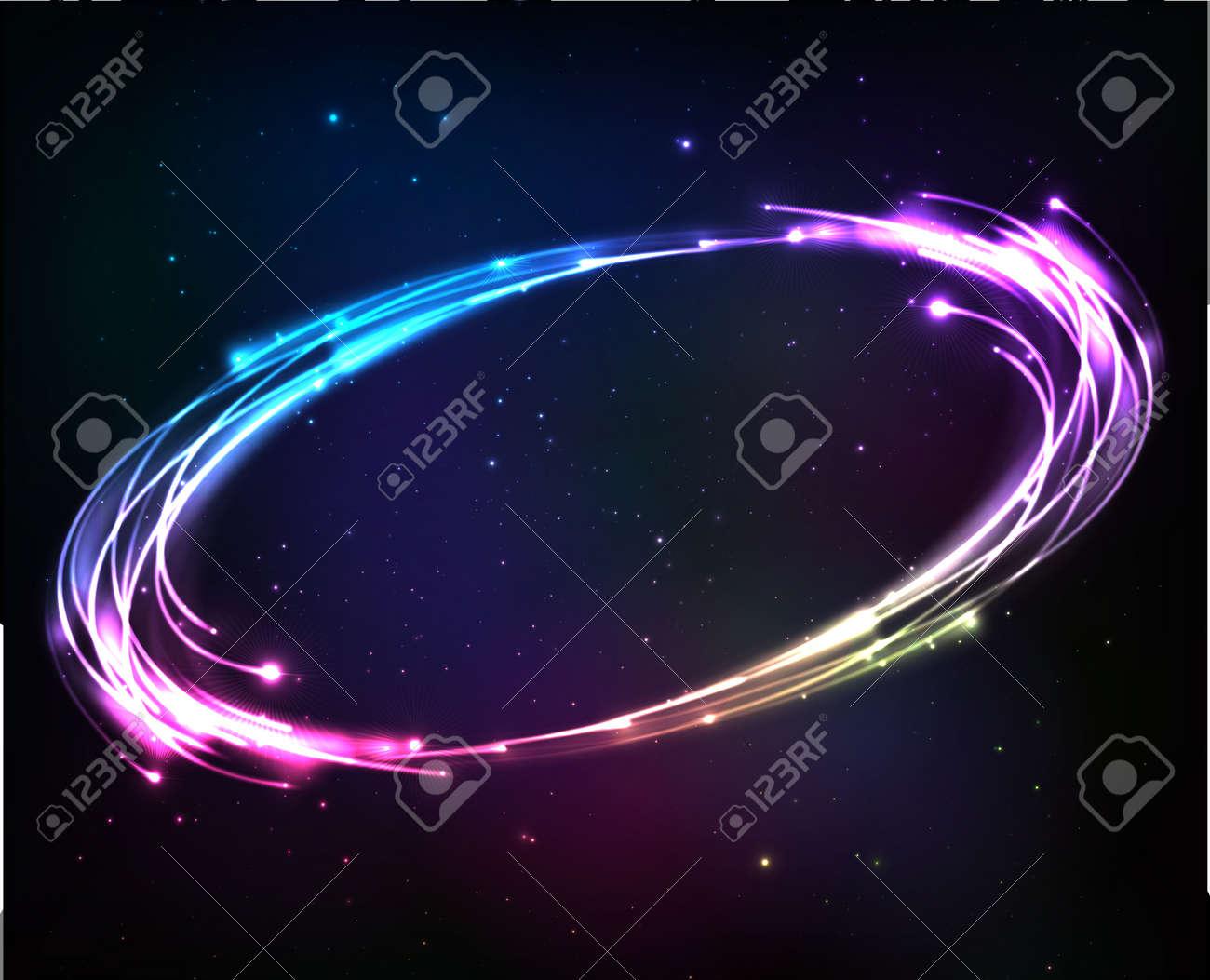 Neón Brillante Ilumina Marco Abstracto Cósmico Ilustraciones ...