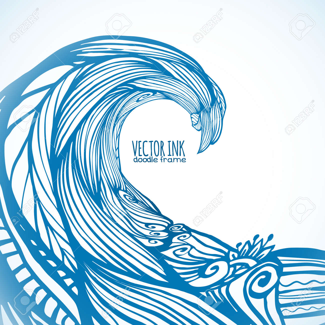 blue ornate doodle wave vector background royalty free cliparts rh 123rf com wave vector physics wave vector physics