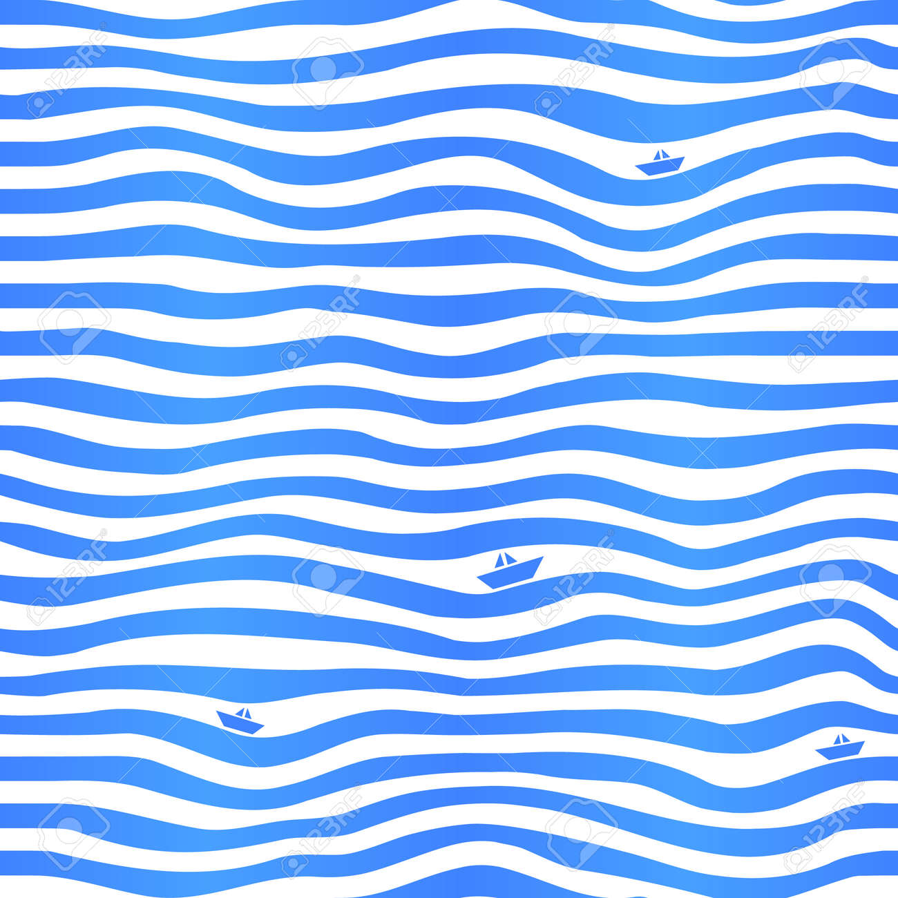 blue stripes wavy simple background with little boats royalty free
