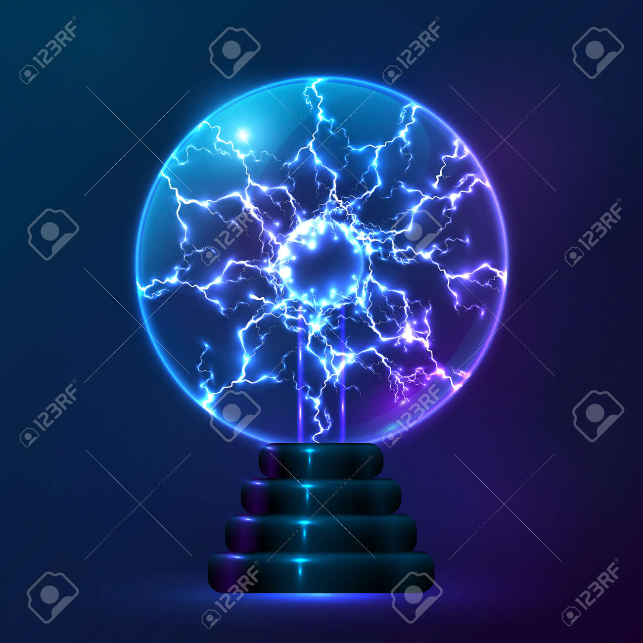 Blue Vector Plasma Ball Lamp Royalty Free Cliparts, Vectors, And ... for Electric Ball Lamp  45hul