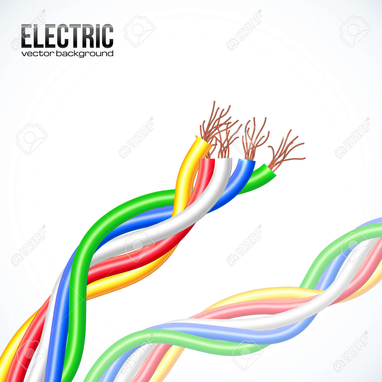Vector Colored Plastic Cables On White Royalty Free Cliparts ...