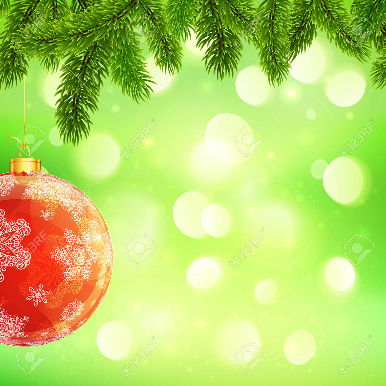 christmas template hanging red ball and fir tree branches christmas template hanging red ball and fir tree branches on green bokeh light background stock