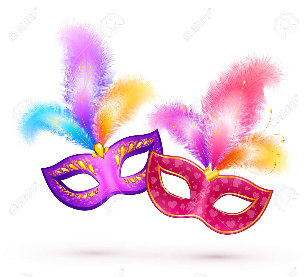 pair of bright carnival masks with colorful feathers royalty free