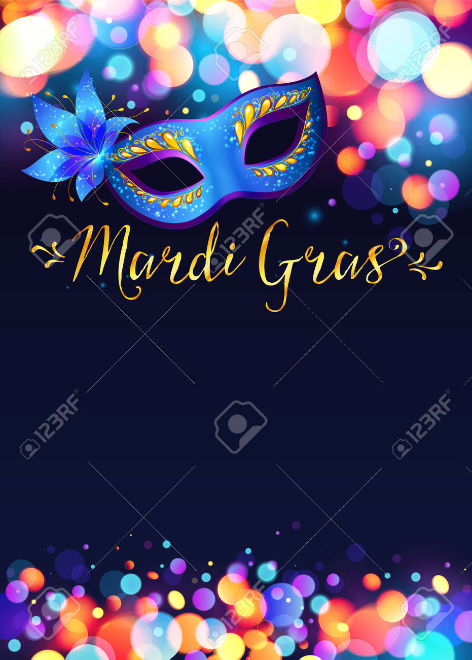 bright mardi gras poster template with bokeh effect lights and