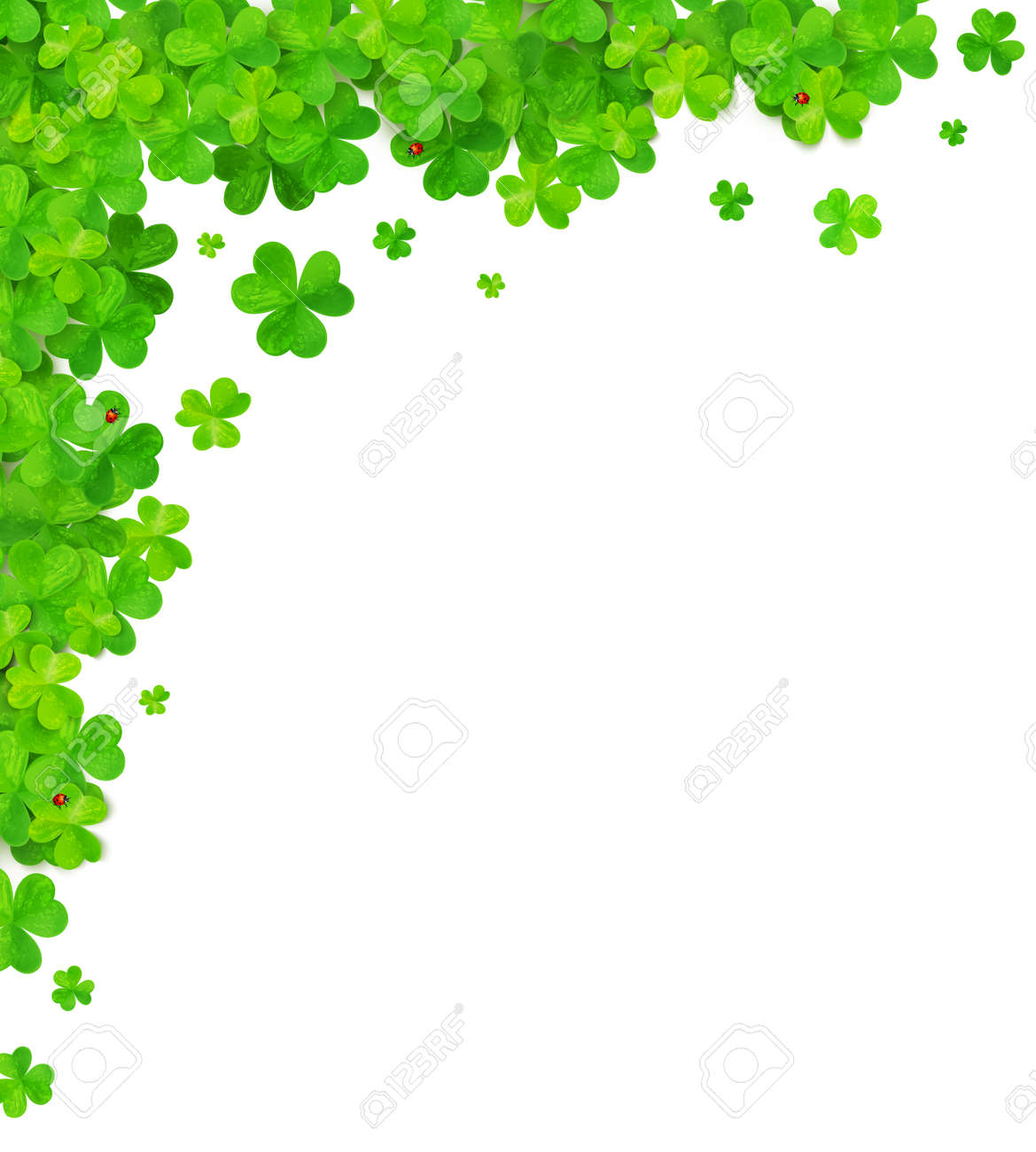 Tréboles Verdes Esquina De Vectores Elemento De Marco Ilustraciones ...