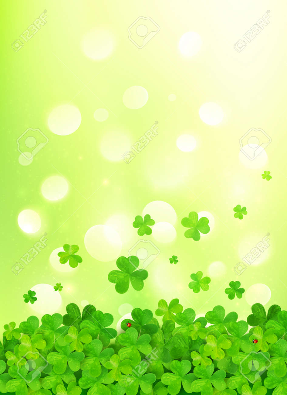 Light Green Vector Background With Clovers Royalty Free Cliparts