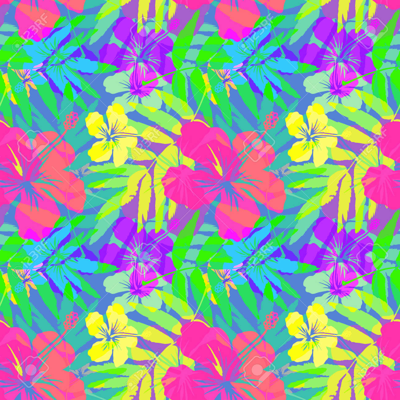 Vivid Tropical Flowers And Leaves Vector Seamless Pattern Stock