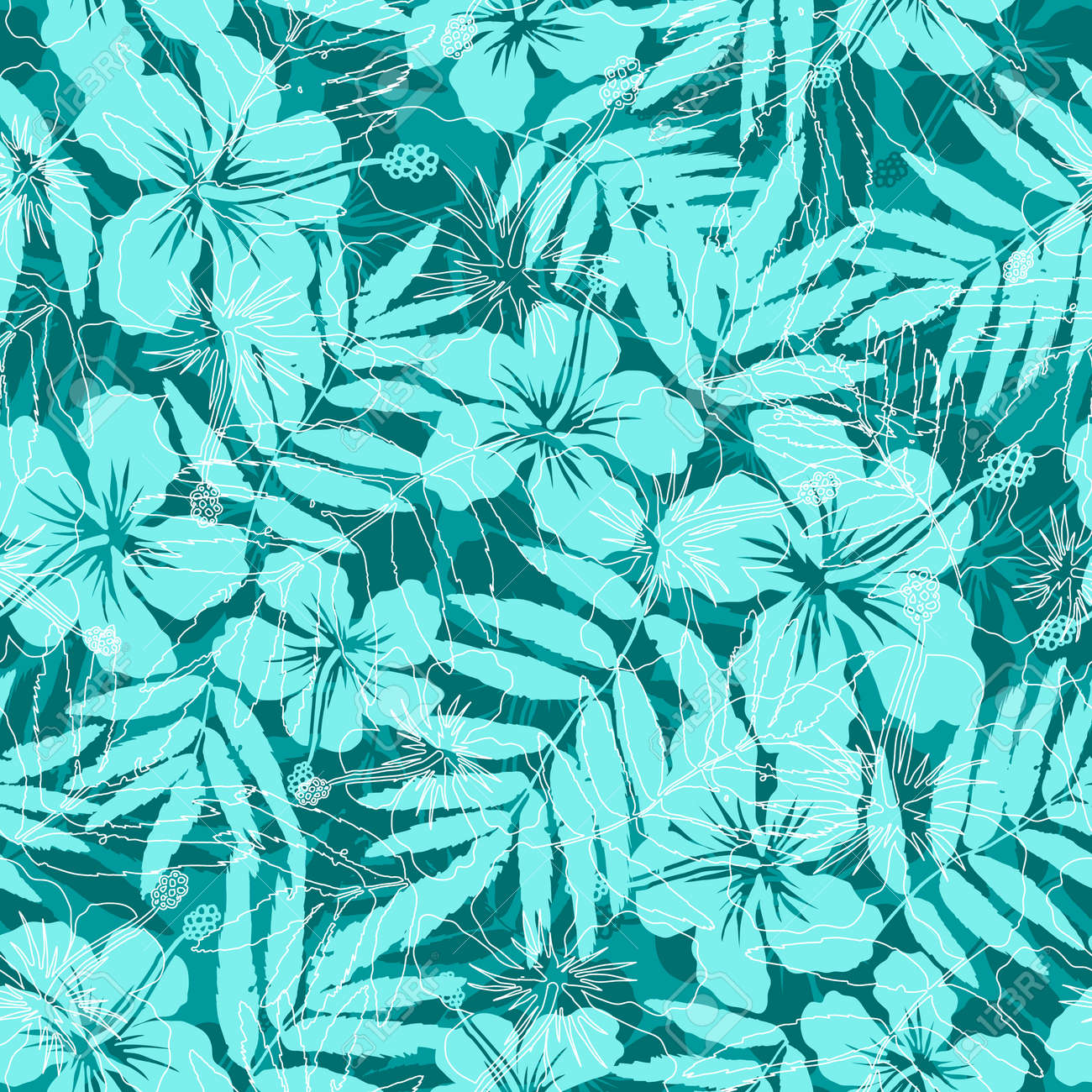 Blue Tropical Flowers Silhouettes Seamless Pattern Stock Vector