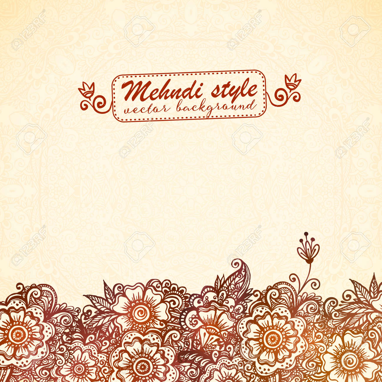 Ornate vintage vector background in mehndi style royalty free stock - Vintage Background In Indian Henna Mehndi Style Stock Vector 40974568