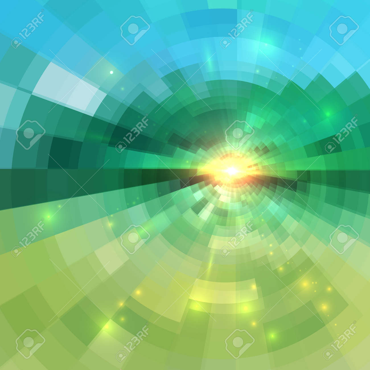 Abstract green technology concentric mosaic vector background Stock Vector - 42443966