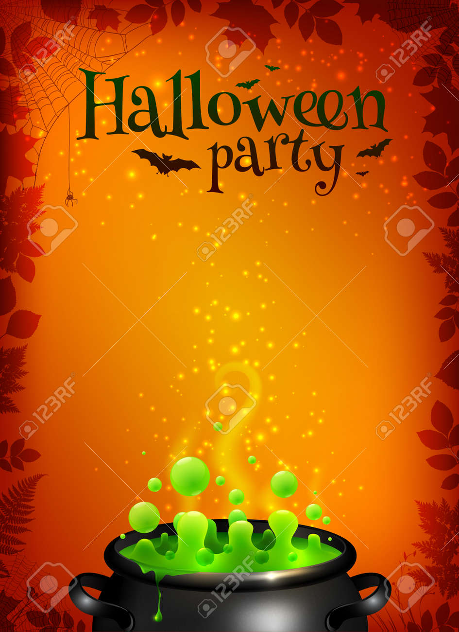 Orange Vector Halloween Poster Template With Green Potion In Black Cauldron Stock