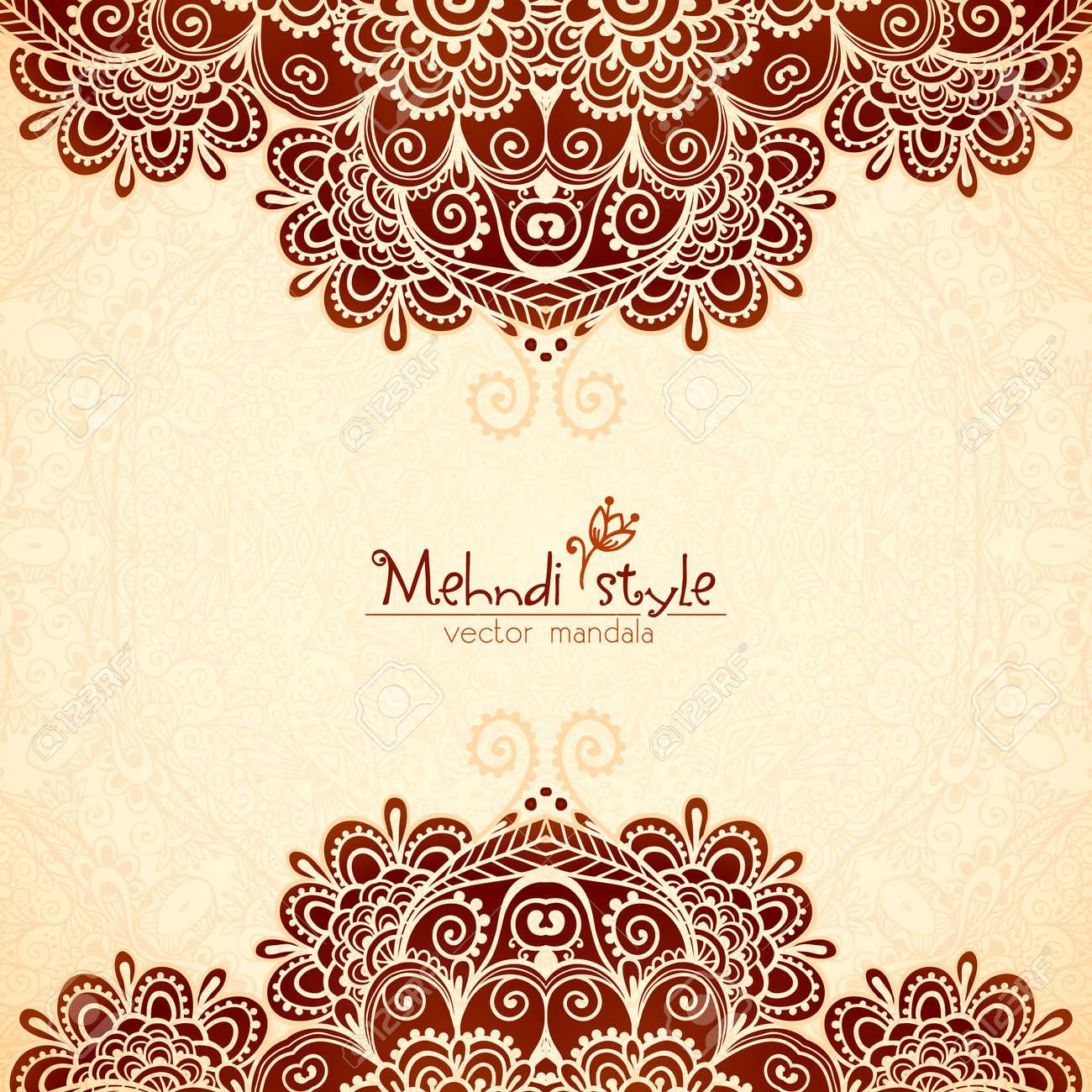 Ornate vintage vector background in mehndi style royalty free stock - Vector Vintage Flowers Ethnic Background In Indian Mehndi Style Stock Vector 45598063