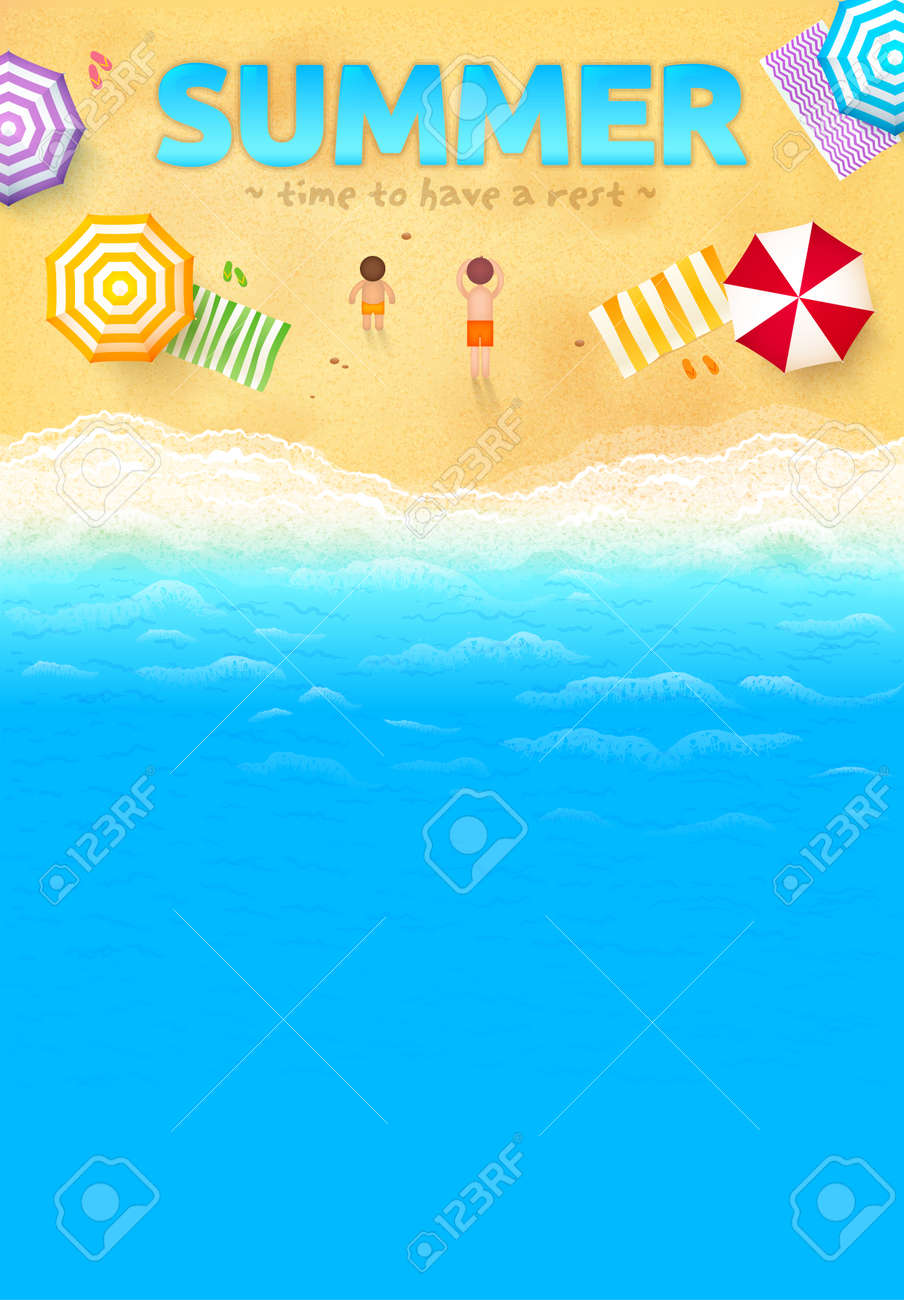 beach with colorful umbrellas towels people and summer sign